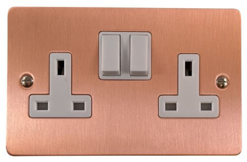 G&H FRG10W Flat Plate Rose Gold 2 Gang Double 13A Switched Plug Socket